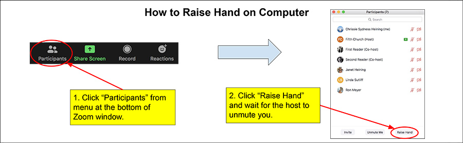 How to raise hand in Zoom using a computet